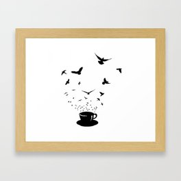 Cup and birds Framed Art Print