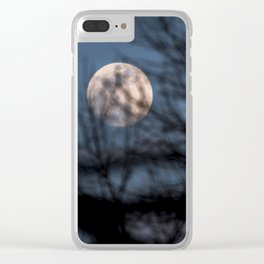 Full worm moon though the branches Clear iPhone Case