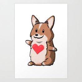 Pembroke Corgi Love Art Print