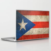 puerto rico Laptop & iPad Skins featuring Old and Worn Distressed Vintage Flag of Puerto Rico by Jeff Bartels
