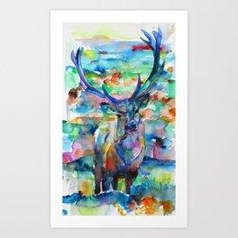 DEER - watercolor painting Art Print