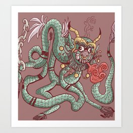 Angry Chinese dragon cartoon chained Art Print