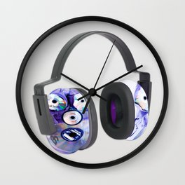 Different Sized Discs II Protection Earmuffs Wall Clock