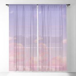 Sky Purple Aesthetic Lofi Sheer Curtain