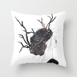 Reindeer in space  Throw Pillow