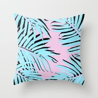 palm tree Throw Pillows featuring Palm tree by Hanna Kastl-Lungberg