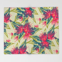 New Zealand Rata floral print (Day) Throw Blanket