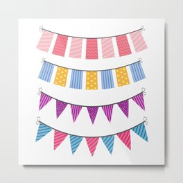 set of color buntings for party Metal Print