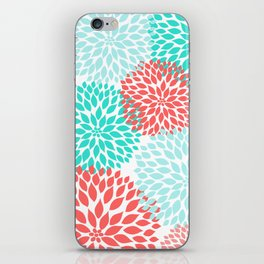 Coral Teal Dahlia Bouquet iPhone Skin