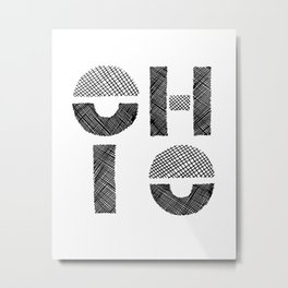 Modern Black and White Ohio Metal Print