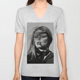 Brigitte Bardot Smoking a Cigarette, Black and White Photograph Unisex V-Neck