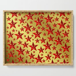 red, stars, face, laugh, smile, gold, pattern, colorful, christmas, motive, Serving Tray