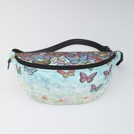 butterfly cascade and white geese Fanny Pack