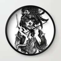 city Wall Clocks featuring Chicana by Rudy Faber