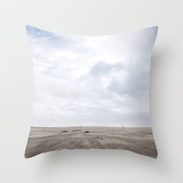 Grayland Beach on a Cloudy Day Throw Pillow