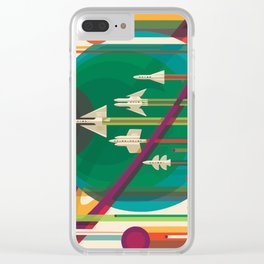 Space Ships Pop Art Vintage Clear iPhone Case