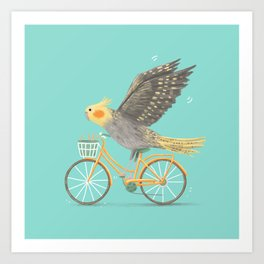 Cockatiel on a Bicycle Art Print