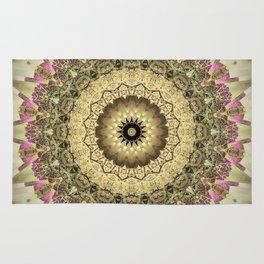 Vintage Gold Pink Mandala Design Rug