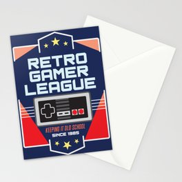 Geeky Gamer Chic Classic Vintage Gaming NES Inspired Vintage Gamer League Old School Cool Stationery Cards