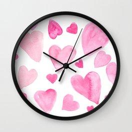 Pink Watercolor Hearts Wall Clock