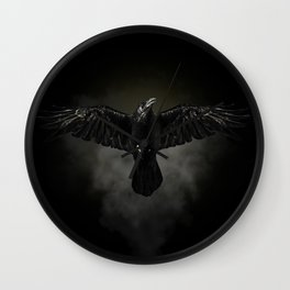 Black raven, crow flight Wall Clock