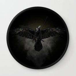 Black raven, crow flight Wall Clock