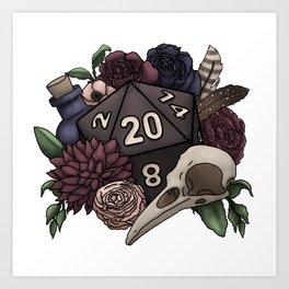 Necromancer D20 Tabletop RPG Gaming Dice Art Print