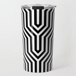 Retro Chevron B&W Travel Mug