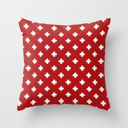 White Swiss Cross Pattern on Red background Throw Pillow