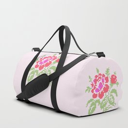Embroidered red rose Duffle Bag