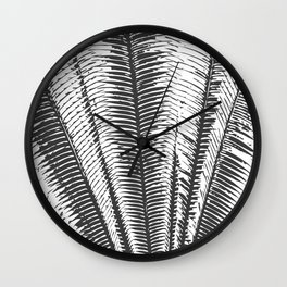 Black and White Modern Tropical Palm Fronds Wall Clock