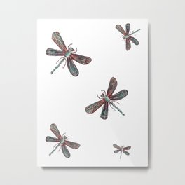 Teal Dragonfly (Red or white b/g) Metal Print