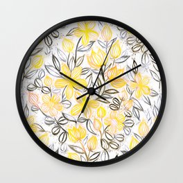 Sunny Yellow Crayon Striped Summer Floral Wall Clock