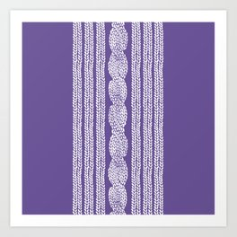 Cable Stripe Violet Art Print
