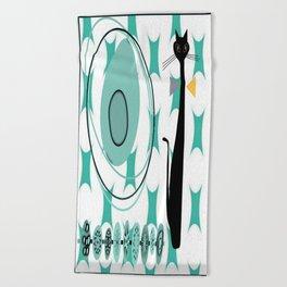 Mid-Century Modern Atomic Art - Teal - Cat Beach Towel