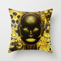 android Throw Pillows featuring Android Clockwork by Magmata