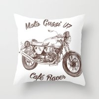 cafe racer Throw Pillows featuring vintage moto guzzi - cafe racer by dareba