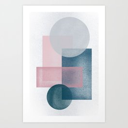 Pink Grey Green Art Print