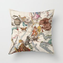 Vintage Constellation Map - Star Atlas Throw Pillow