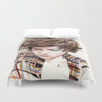 coconutwishes Duvet Covers featuring H plaid watercolors by Coconut Wishes