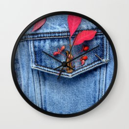 Jeans jacket with red leaves Wall Clock