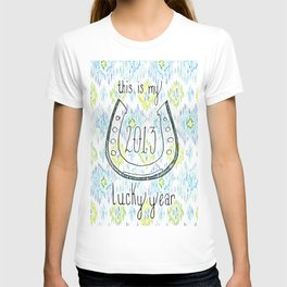 2013 - My Lucky Year Print, hand lettered horse-shoe T-shirt