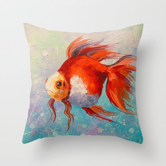 Gold fish throw pillow by olhadarchuk society6 for Fish throw pillows