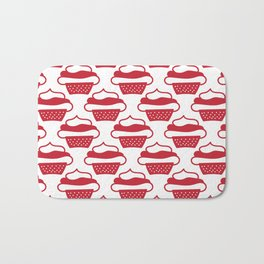 Doodled cupcakes - red and white Bath Mat