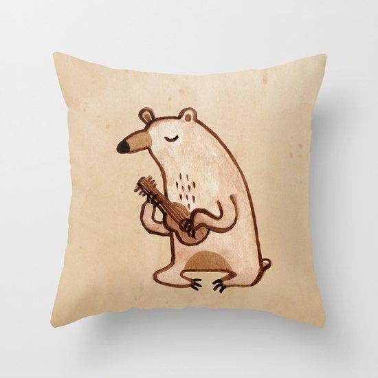 Ukulele Bear Throw Pillow