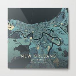 New Orleans, United States - Cream Blue Metal Print