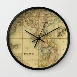 Chōsen Zenzu, Map of Korea (1875) Wall Clock