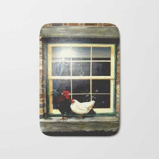 Rooster & Hen on a window Ledge Bath Mat