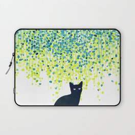 Cat in the garden under willow tree Laptop Sleeve