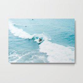Wave Surfer Turquoise Metal Print
